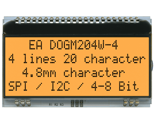 4x20 Character Display EA DOGM204W-A