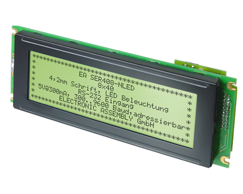 8x40 Serial text Display EA SER408-HNLED