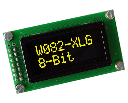 2x8 OLED Character Display with 4/8bit and SPI