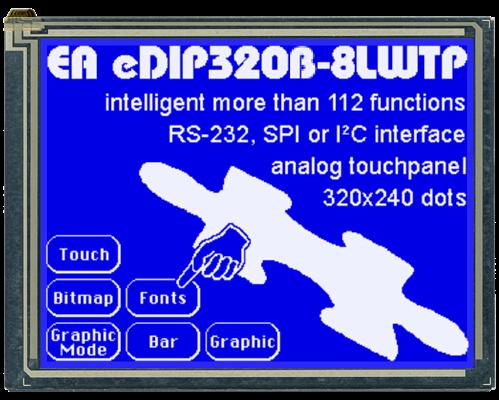 "5.7"" eDIP Intelligent Graphic Display EA EDIP320B-8LW"