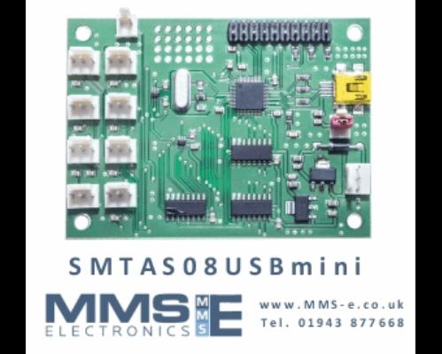 USB Development board measures 8  temperature sensors SMTAS08USB