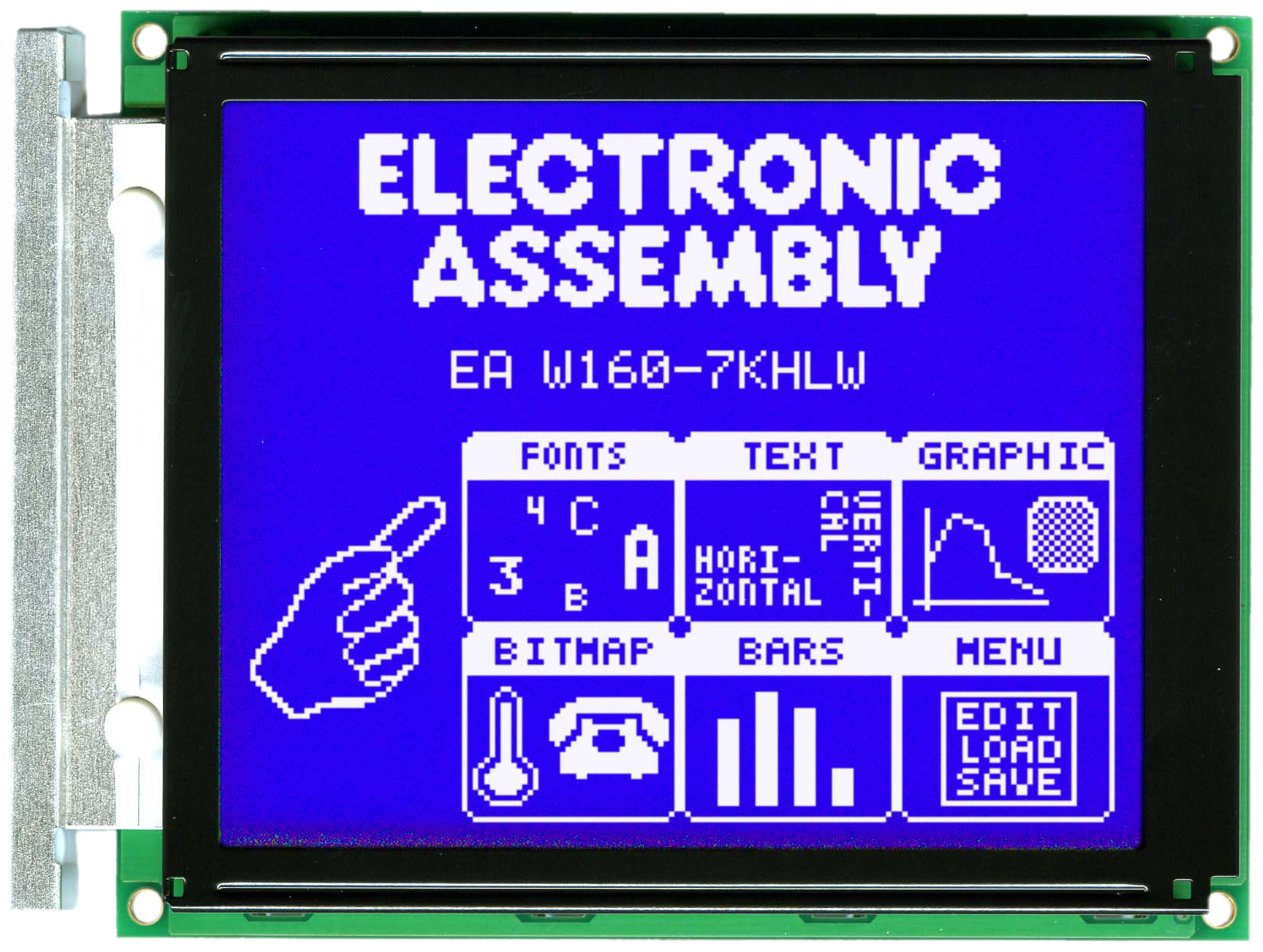 160x128 Graphic Display Blue/White CFL EA W160-7KHLWTP + Touch