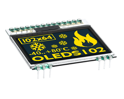 """102x64 COG OLED 1.7"""" Graphic Display with I?C, SPI"""
