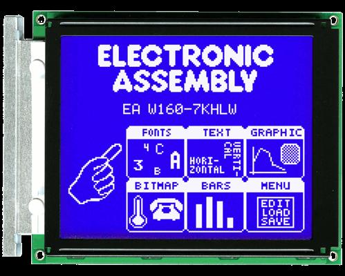 160x128 Graphic Display Blue/White CFL EA W160-7KHC