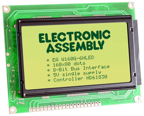 160x80 Graphic Display Green EA W160G-6NLED