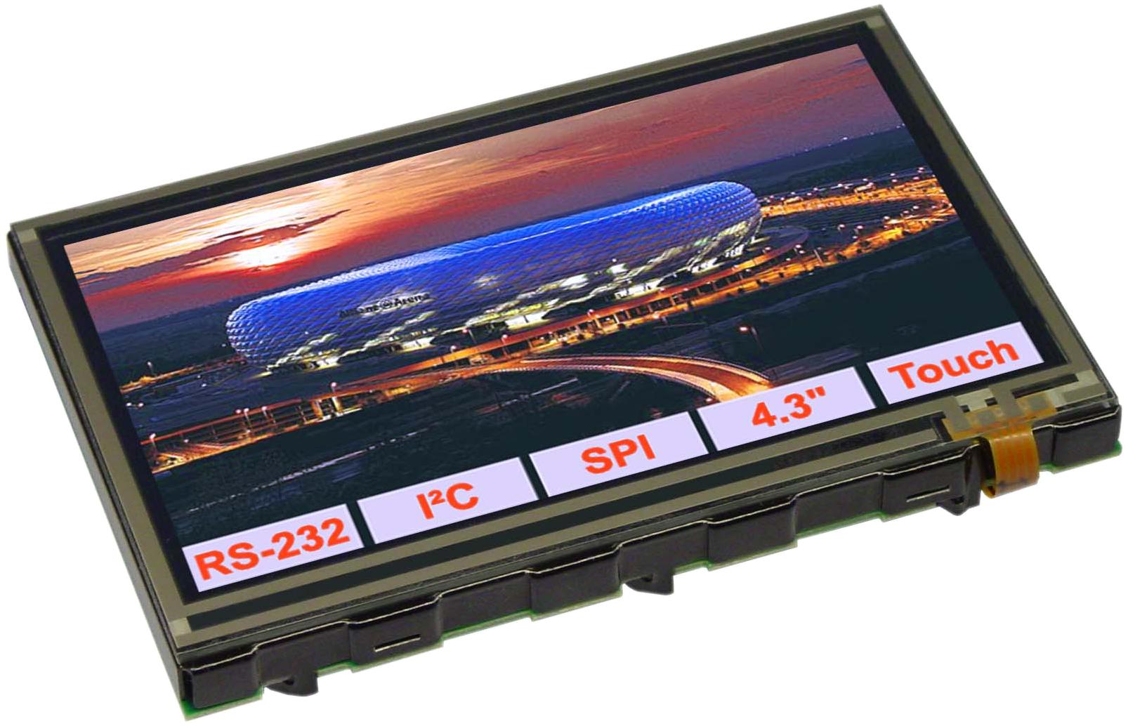 "4.3"" eDIPTFT Intelligent Graphic Display + Touch EA EDIPTFT43-ATP"