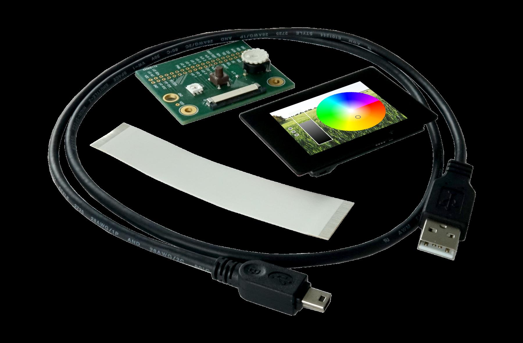 Demoboard for uniTFTs : Analog Input + RGB LED, EA DEMOPACK-RGBANA