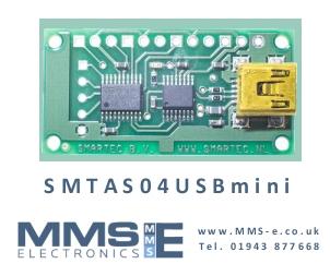 USB Development board measures 4 temperature sensors SMTAS04USB